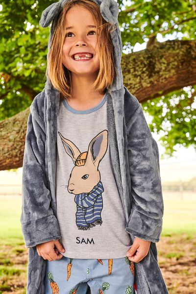 Noah Long Sleeve Pyjama Set Personalised, COOL BUNNY/ SUMMER GREY MARLE