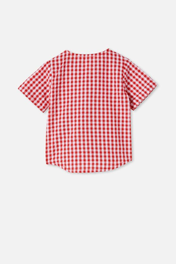 Sully Short Sleeve Shirt, LUCKY RED/MINI GINGHAM