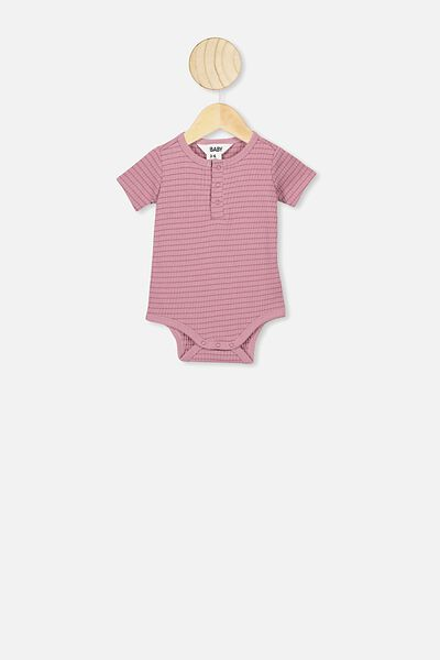 The Short Sleeve Button Bubbysuit, SALLA STRIPE DUSTY BERRY/VINTAGE BERRY
