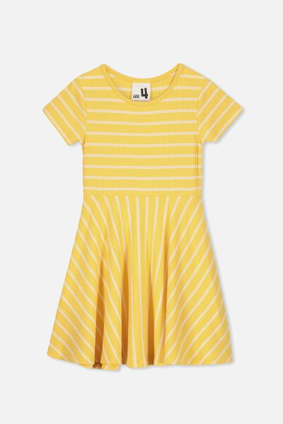 Riley Short Sleeve Dress, SUNSET GOLD/ WHITE STRIPE