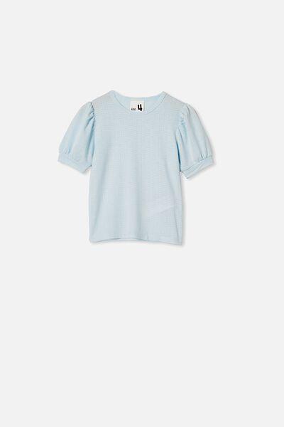 Jasmine Puff Sleeve Top, FROSTY BLUE