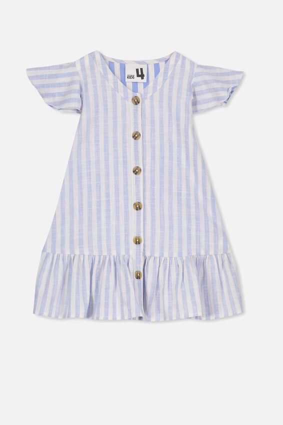 Lola Short Sleeve Dress, CORNFLOWER BLUE STRIPE