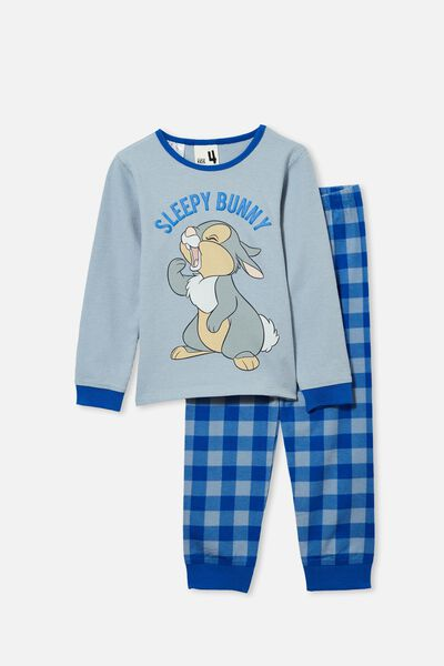 Noah Long Sleeve Pyjama Set Licensed, LCN DIS THUMPER SLEEPY BUNNY/DUSTY BLUE