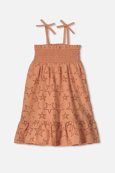 Lily Mae Sleeveless Dress, TERRACOTTA RUST/STARS
