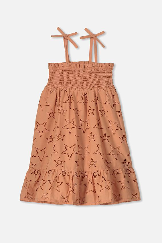 Lily Mae Sleeveless Dress, TERRACOTTA RUST/STARS