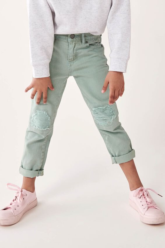 India Slouch Jean, STONE GREEN