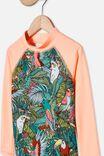 Hamilton Long Sleeve Rashie, TROPICAL ORANGE/TROPICAL BIRDS