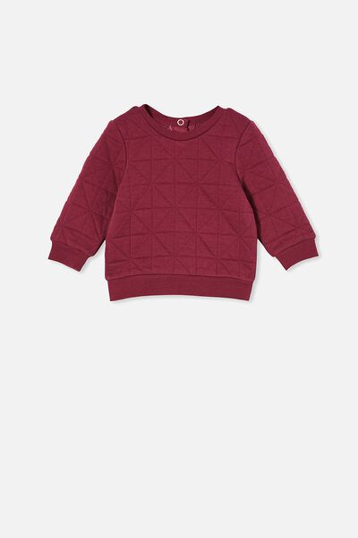 Greer Quilted Sweater, FADED BURGUNDY