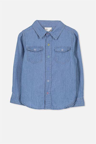 Sunny Chambray Shirt, MID BLUE