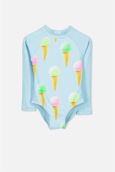 Lydia Rashie Swimsuit, AQUA TINT/ICE CREAMS