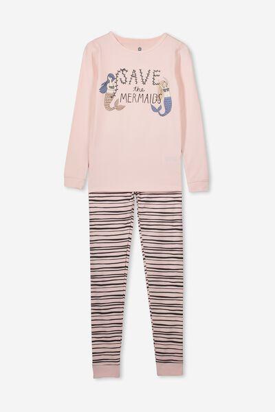 Ruby Long Sleeve Girls Pyjamas, SAVE THE MERMAID/CRYSTAL PINK
