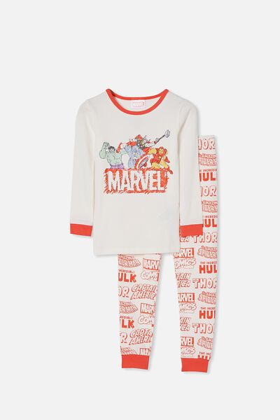 Ethan Long Sleeve Pyjama Set, LCN MAR AVENGERS VANILLA