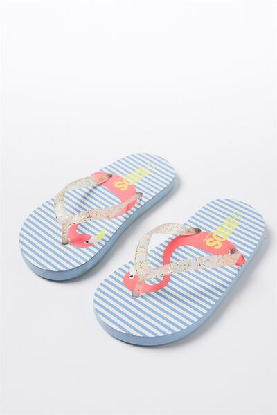 Printed Flip Flop, KISSING FLAMINGOS