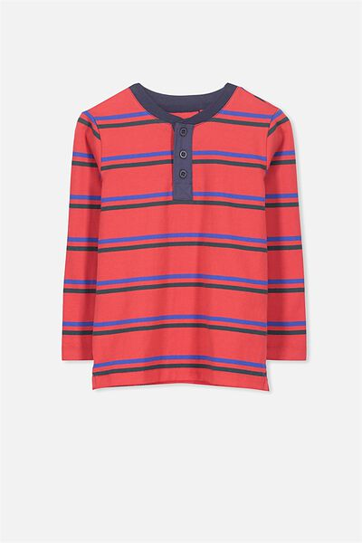 Bentley Henley Long Sleeve Tee, SOPHIE RED STRIPE/SIS CUFF