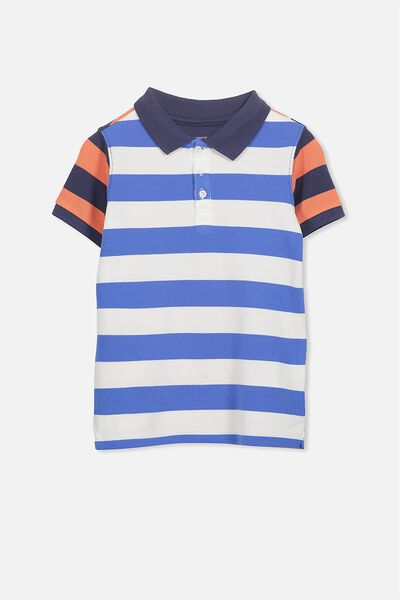 Kenny3 Polo, LARGE BLUE/NAVY/RED STRIPE