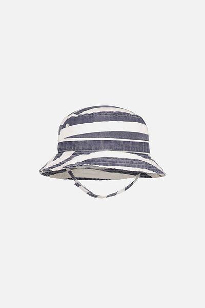 Baby Bucket Hat, NAVY WIDE STRIPE