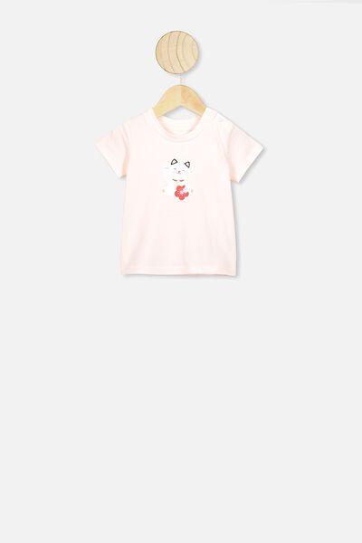 Jamie Short Sleeve Tee, CRYSTAL PINK/LUCKY CAT