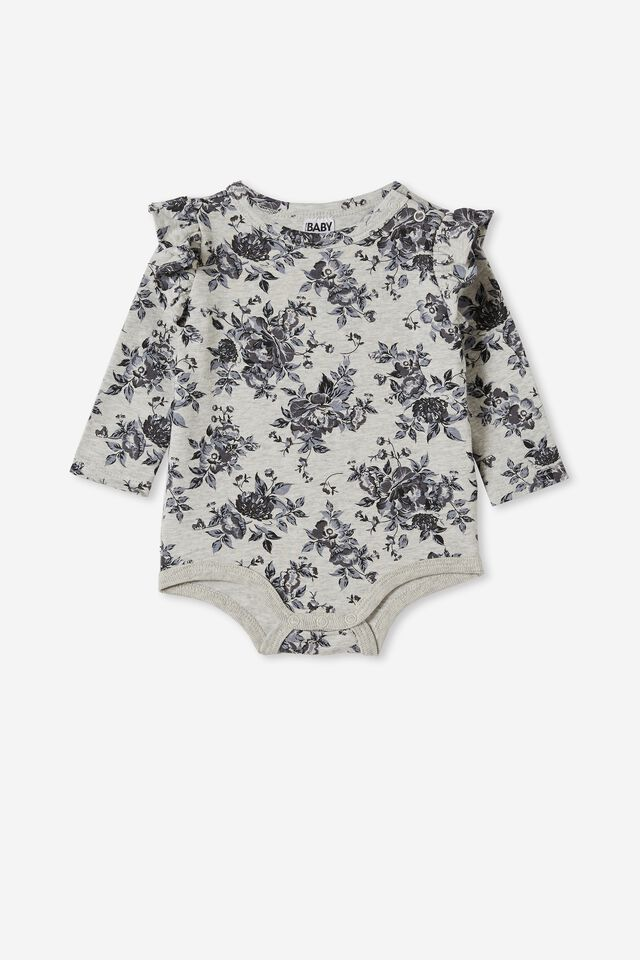 The Long Sleeve Ruffle Bubbysuit, CLOUD MARLE/RABBIT GREY WHITBY FLORAL