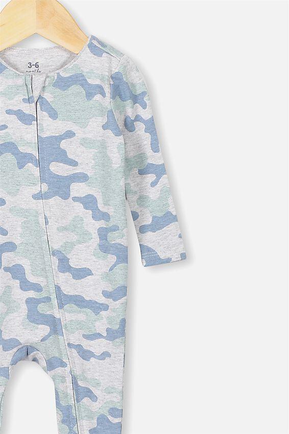 The Snug Long Sleeve Zip Romper, CLOUD MARLE STONE GREEN CAMO