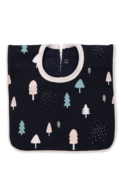 Hansel And Gretel Babies Bib, TWILIGHT BLUE/CUTE TREES