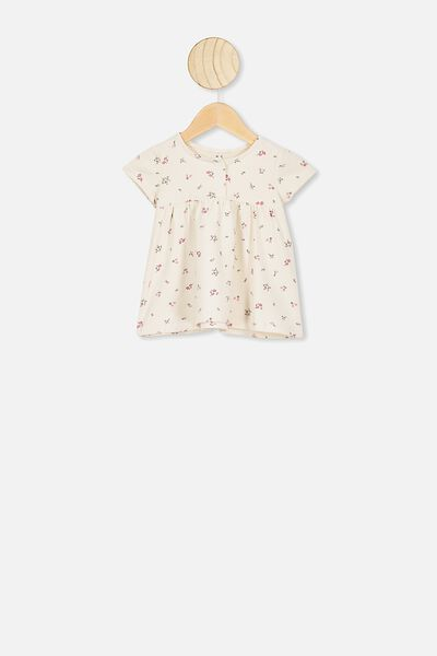 Milly Short Sleeve Dress, DARK VANILLA/FLORAL FIELDS