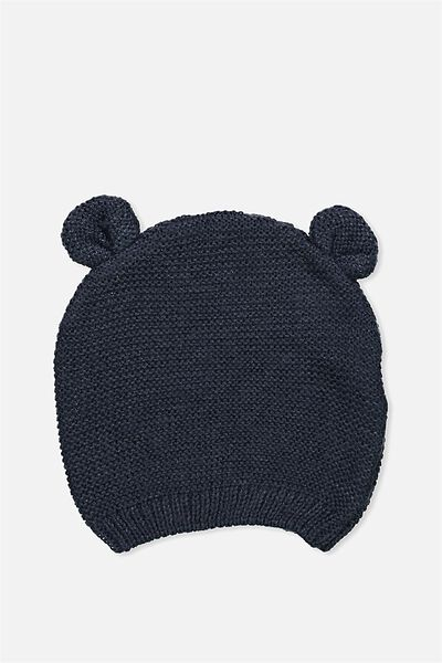 Baby Knit Beanie, INDIAN INK RIBBED
