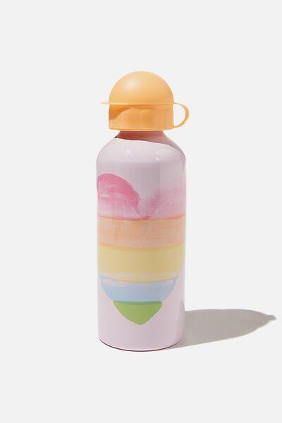Aluminium Drink Bottle, WATERCOLOUR HEART LAVENDER FOG