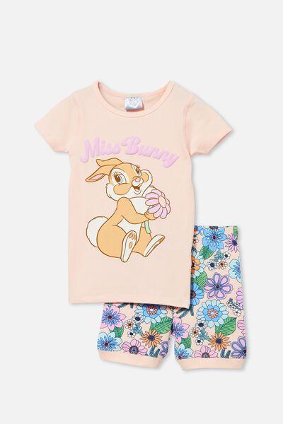 Nikki Short Sleeve Pyjama Set Licensed, LCN DIS MISS BUNNY/CRYSTAL PINK