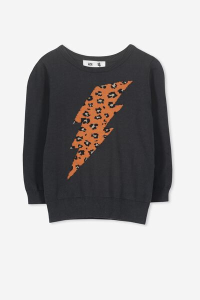 Phoebe Knit Jumper, PHANTOM/LEOPARD BOLT