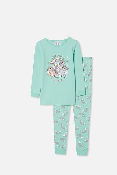 Lila Long Sleeve Pajama Set, LCN HAS MLP UNICORNS ARE REAL/DREAM BLUE