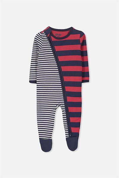 Sleep Mini Zip All In One Jumpsuit, VANILLA/SPLICED MIXED STRIPES