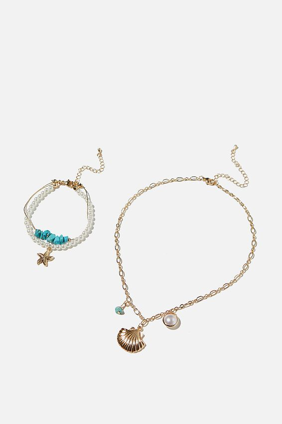 Bead Necklace And Bracelet Set, BEACH