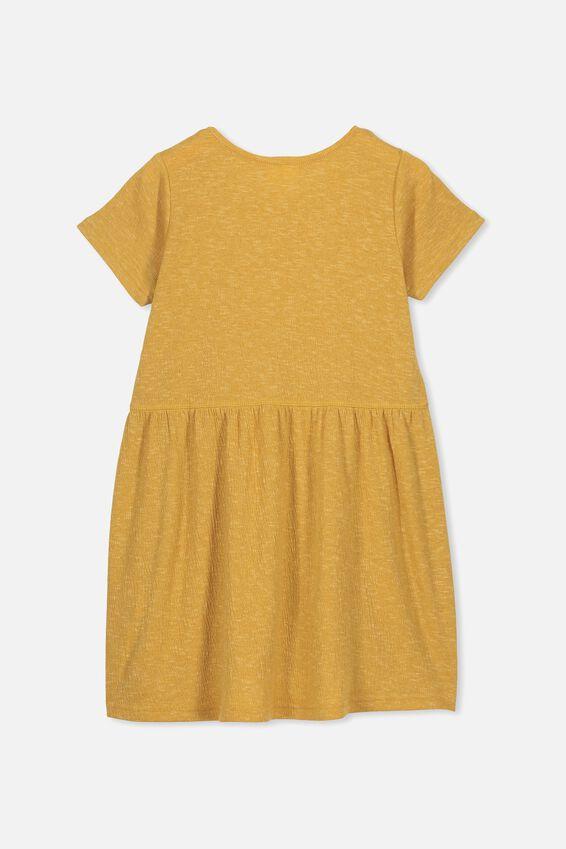 Freya Short Sleeve Dress, HONEY GOLD/TEXTURE