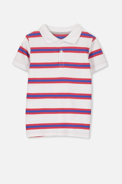 Kenny 3  Polo, VANILLA/ULTRA BLUE AND SOPHIE RED STRIPE