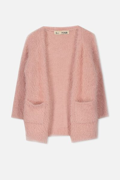 Lily Fluffy Cardigan, SILVER PINK