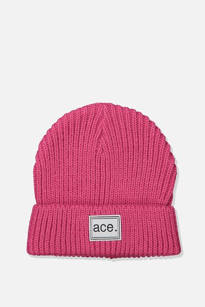 Winter Knit Beanie, PINK RIB