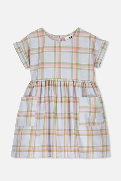 Malia Short Sleeve Dress, HEATHER BLUE CHECK