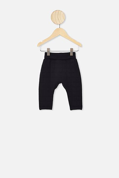 Rory Quilted Trackpant, BLACK