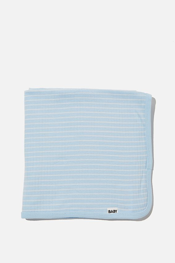 Organic Newborn Blanket, WHITE WATER BLUE/MILK SALLA STRIPE