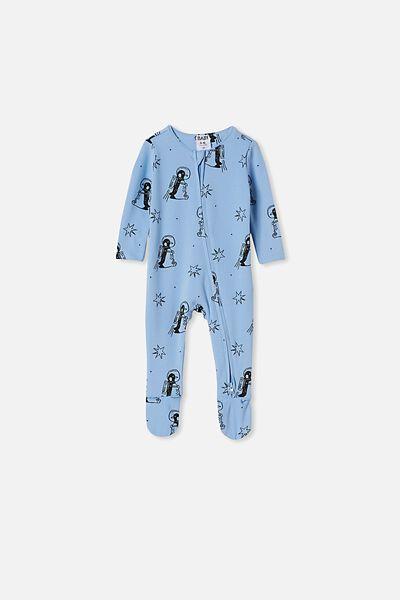 The Snug Long Sleeve Zip Romper, POWDER PUFF BLUE PENGUIN ASTRONAUT
