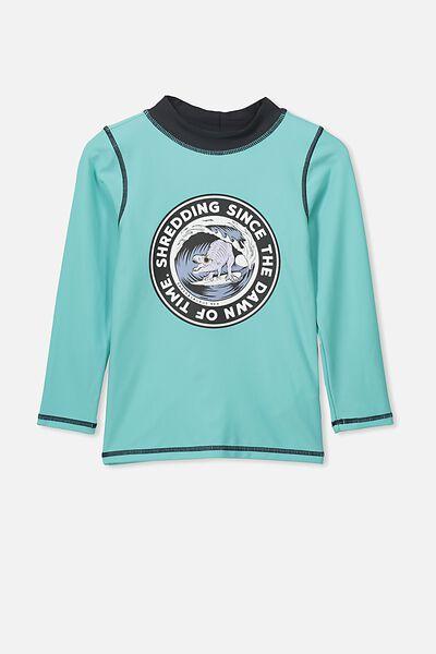 Flynn Long Sleeve Rash Vest, SURF DINO/TURQUOISE HAZE