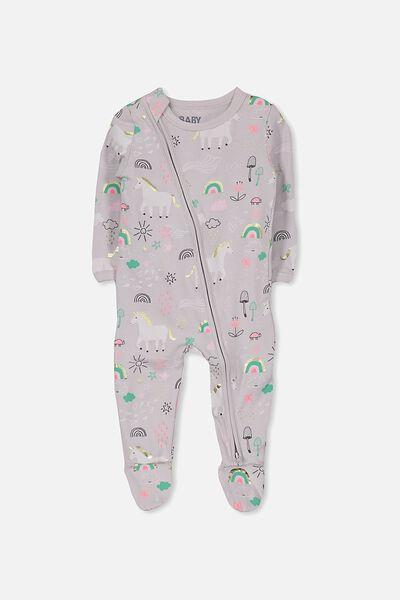 Sleep Mini Zip All In One Jumpsuit, WINDCHIME/UNICORNS & RAINBOWS