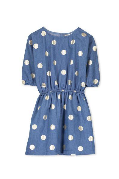 Miette Batwing Dress, MID BLUE/GOLD SPOT