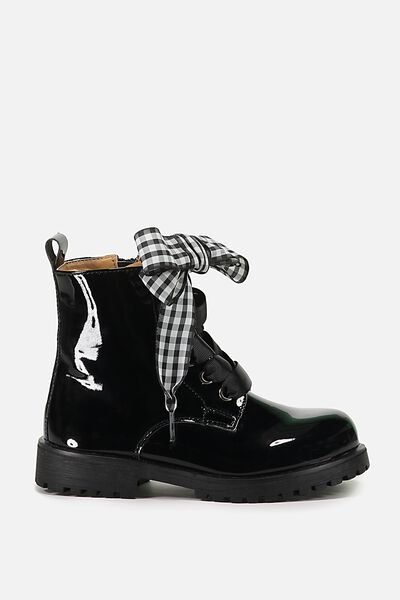Roxie Combat Boot, BLACK PATENT