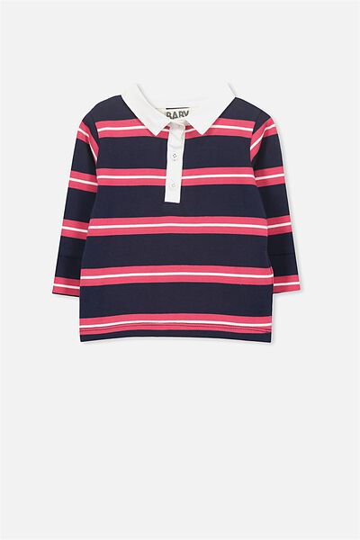 Cohen Rugby Top, PEACOAT/BARBERRY STRIPE