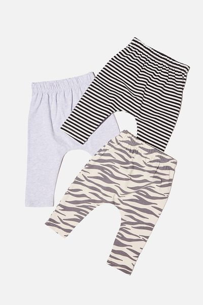 3 Pack Leggings, MARTY ZEBRA/CLOUD MARLE/BLACK STRIPE