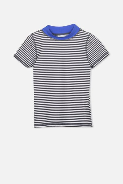 Finley Short Sleeve Rash Vest, WHITE/NAVY STRIPE