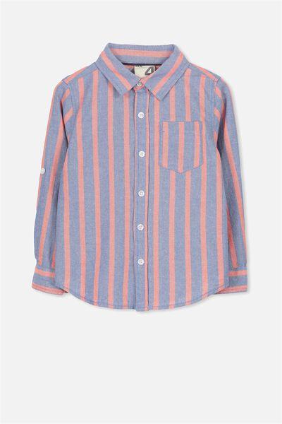 Noah Long Sleeve Shirt, RED BLUE STRIPE