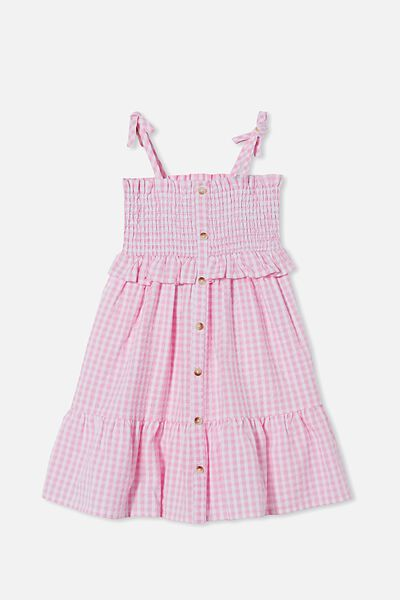 Amber Sleeveless Dress, CALI PINK MINI GINGHAM