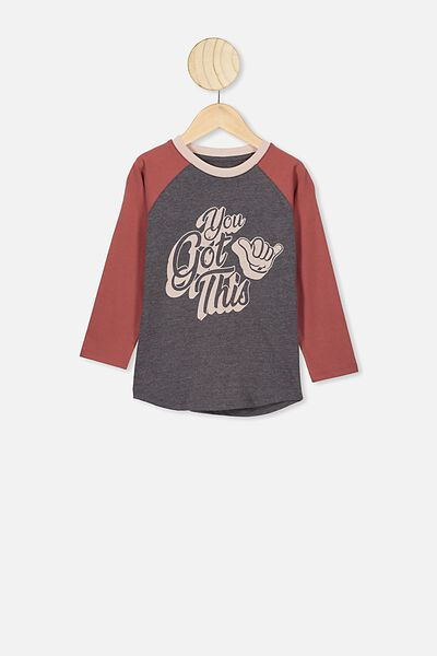 Tom Long Sleeve Raglan Tee, CHARCOAL MARLE/YOU GOT THIS
